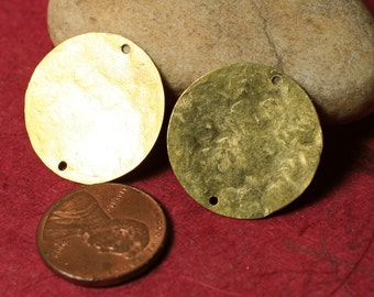 Hand hammered solid brass disc link dangle drop 22m in daimeter, 4 pcs (item ID XW00076K)