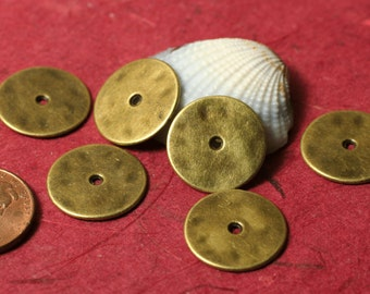 Antique brass tone washer disc drop 16mm in diameter 20g thick, 16 pcs (item ID YDAB3204)
