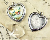 Heart Shaped Pendant Tray Blank for Photo Jewelry Making. GFX Glass included.