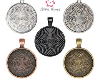1in Circle Bezel Pendant Setting Tray with Textured Back. 25mm Silver, Black, Copper, and Gold Colors Available. 25 Pack.
