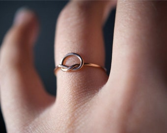 Rose Gold Knot ring, small 14kt rose gold fill knot ring, 14k rose gold filled ring, rose gold infinity ring, 14k gold fill knot ring