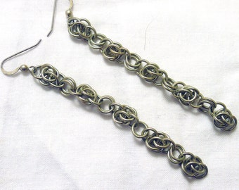 Scary Weave Sterling Silver Chainmaille Earrings