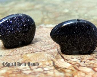 Blue Goldstone Zuni Bear beads pair for earrings Teen Size 12 x 18 mm