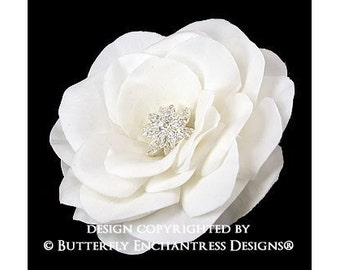 Bridal Hair Flower, Bridal Hair Accessory, Wedding Flower Clip - Starfire Rhinestone Ivory Gwyneth Gardenia Flower Hair Clip