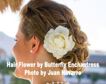 Ivory Wedding, Bridal Hair Flower, Wedding Headpiece - Ivory Rose Bridal Hair Flower Clip