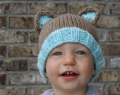 PDF Pattern for Knit Bear Beanie (10 sizes newborn to Adult) Instant Download