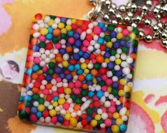 Sugar Cube - Rainbow Candy Sprinkles Resin Necklace