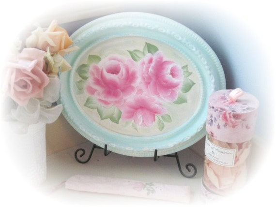 Framed ART Shabby Chic Aqua/Robins Egg Blue OVAL Hand Painted PINK Roses ecs cst schteam svfteam