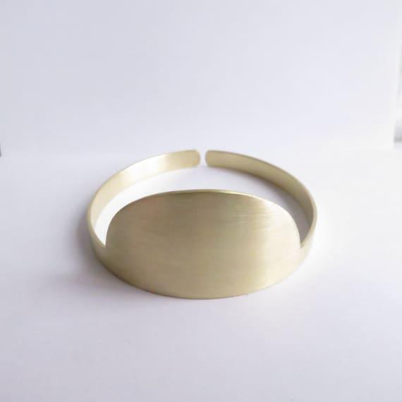 Minimalist Half Moon Gold Cuff Bracelet