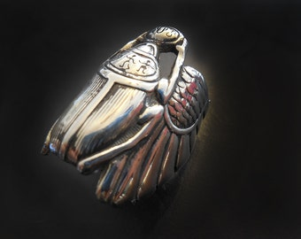 Scarab Beetle Ring in White or Gold Bronze