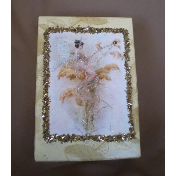 Fairy faerie trinket ring jewelry decoupage paper gift box fantasy home decor stocking stuffer