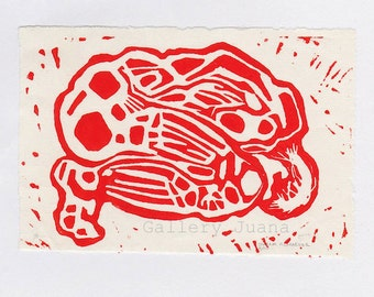 male figure linocut, 4 x 6, Dawn #6