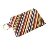 Change Purse in Diagonal Stripes with Key Ring