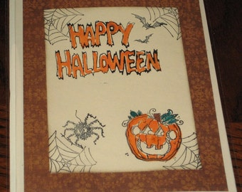 Halloween Greeting Card Note Card With Pumpkin