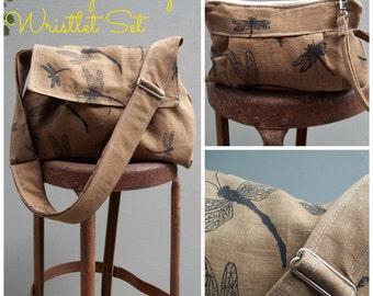 Reserved - Brown Messenger Bag Wristlet Set - 3 pockets - adjustable strap - key fob - SET