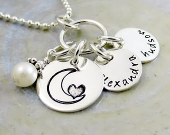 Personalized Moon Necklace - Personalized Celestial Jewelry - Necklace for Mom - I Love You To The Moon and Back - Handstamped Name Charms