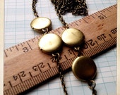 long locket necklace - four brass lockets