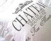 Made to Order White Linen Chateau Ville de Paris Ruffle Pillow SLIP COVER