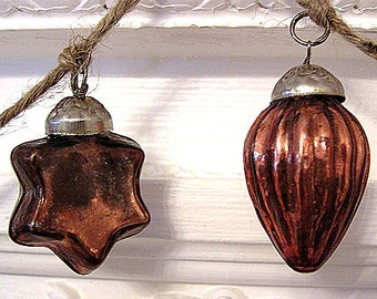SALE! Featured in Romantic Homes Magazine! Hand Strung Mercury Glass Holiday Ornament Garland (Gold/Copper)