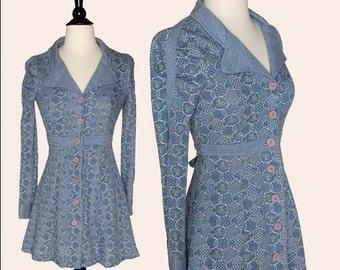 Vintage Blue Dress / 60s Printed Mini Dress / Terri Petites Dress