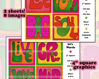1960s Groovy Hippy Words 4 in 100 mm x 100 mm digital collage sheet set bubble letters