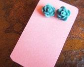 Teal Flowers Stud earrings
