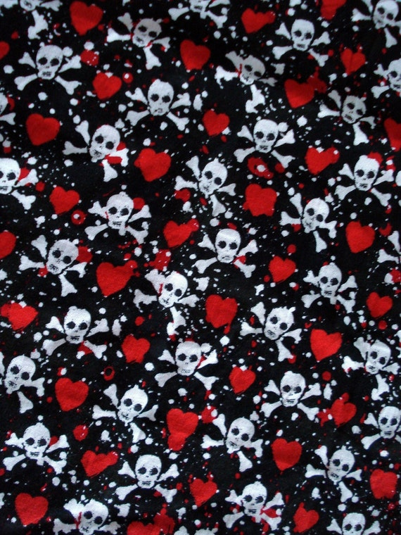 Skull and Crossbones Travel Laundry Bag, Hearts, Vacation Laundry Bag, Red, Black, White, Pirate