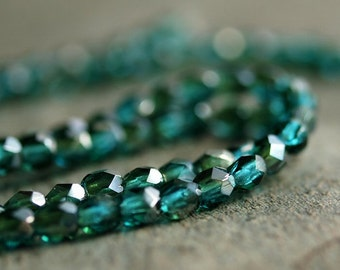 Viridian Celsian Czech Glass Bead 3mm Faceted Round : 50 pc 3mm Round Bead