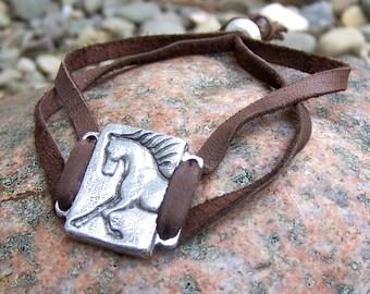 Unbridled Adjustable Horse Bracelet, Horse Jewelry, Gift for Horse Lover, Brown or Black