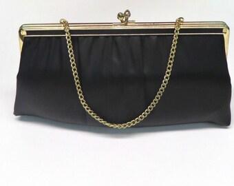 Vintage 50 60s Handbag Black Peau de Soie Evening Bag Clutch