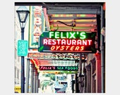 Felix's: square fine art photograph print of New Orleans seafood oyster restaurant bright neon sign (red, green, pink, orange)