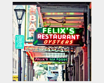 Felix's Photograph, New Orleans Seafood, Oyster Restaurant Photo, Bright Neon Sign, Colorful Wall Decor, Fun Modern Art, New Orleans Photo