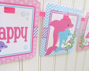 Pink Dolphin Happy Birthday Banner / Personalized with Name and Age / Purple Dolphin / Girls Dolphin Party