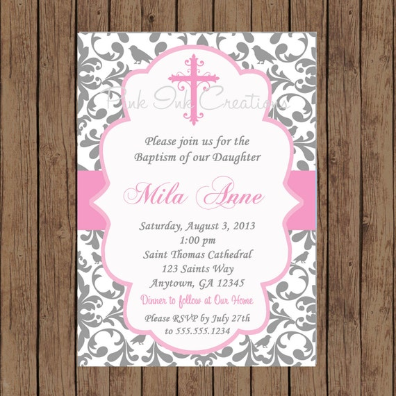 GIRLS Baptism Invitation / Baby Dedication Invitation /