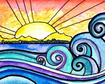 Waves Art The Shore   sunset sun art print painting beach waves ocean art  print water beach painting waves print sunrise art