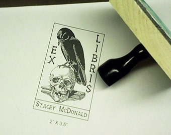 Raven Perched on Human Skull and Book Ex Libris Bookplate Rubber Stamp N04