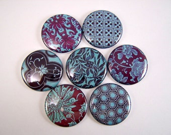 One Inch Teal and Brown Flatback Buttons
