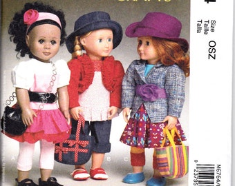"""McCalls 6764 or 486 Laura Ashley 18"""" Doll Clothes Dress Bolero Jacket Hat Shoes Sewing Pattern NEW UNCUT"""