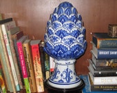 Blue and White Ceramic Artichoke
