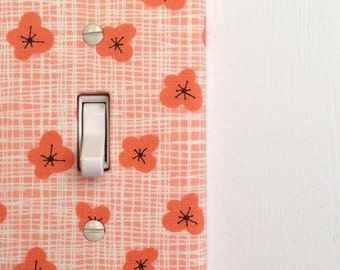 Light Switch Plate Cover, wall decor - coral flowers - floral