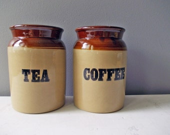 Stoneware Crocks, Vintage Farmhouse Pearsons Chesterfield Pottery Canisters, Coffee & Tea. Vintage Crockery, Kitchen Storage Jars with Lids