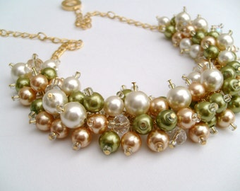 Chunky Pearl Necklace, Lime Green Gold and Ivory, Bridesmaid Jewelry, Cluster Necklace, Bridesmaid Gift, Bridesmaid Necklace