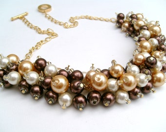 Cluster Pearl Necklace, Chocolate Brown Gold and Ivory, Bridesmaid Jewelry, Chunky Necklace, Bridesmaid Gift, Bridesmaid Necklace