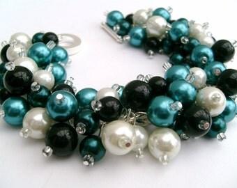 Wedding Jewelry, Bracelet, Teal Black White, Chunky Bracelet, Pearl Bridesmaid Bracelet, Cluster Bracelet, Pearl Bracelet, Pearl Jewelry