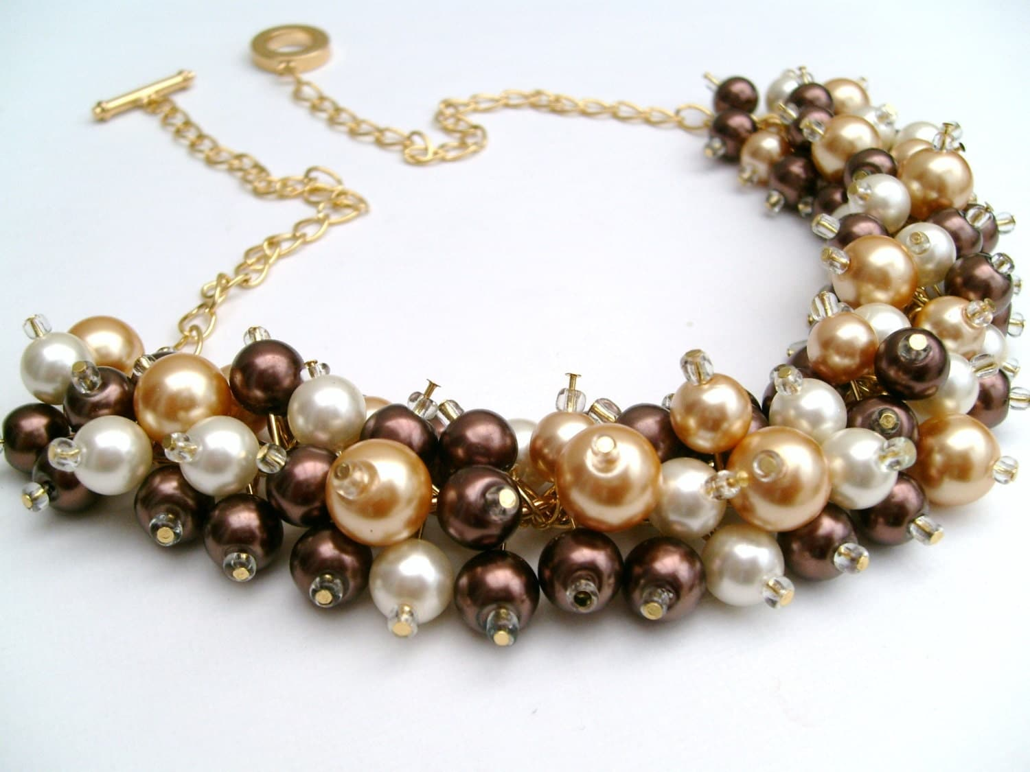 Cluster Pearl Necklace Chocolate Brown Gold And Ivory