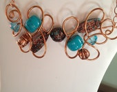 Funky Free Form Copper Wire Necklace with Copper, Turquoise and Copper Beads