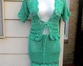 Crochet dress, Crochet skirt, crochet cardigan, Emerald green  suit, crochet vest, crochet suit, summer suit