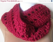 FALL SALE Crochet scarf Chunky Crimson Red infinity scarf- wool blend