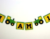 Tractor Birthday Party Banner I AM 1 Garland - 1st Birthday or ANY age Farm Green and Yellow Tractor Banner - Barn Bash or Barnyard Birthday