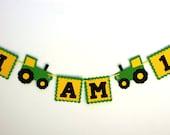 Tractor Birthday Party I AM 1 Garland - Farm Green Yellow Tractor Banner - Barn Bash Banner - Barnyard Birthday Decorations